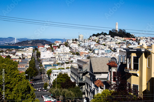 Poster Blick auf den Coit Tower und Telegraph Hill in San Francisco, Kalifornien, USA