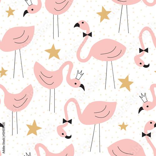 Cotton fabric seamless flamingo pattern vector illustration