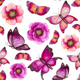 Seamless Pattern of Watercolor Butterflies and Flowers