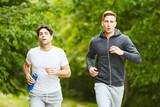 Jogger im Park trainieren zusammen