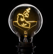 Lightbulb with a glowing wire in the shape of Northwest Territory