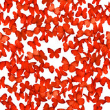 Red butterflies pattern in 24 different wing perspectives, seamless and isolated on absolute white