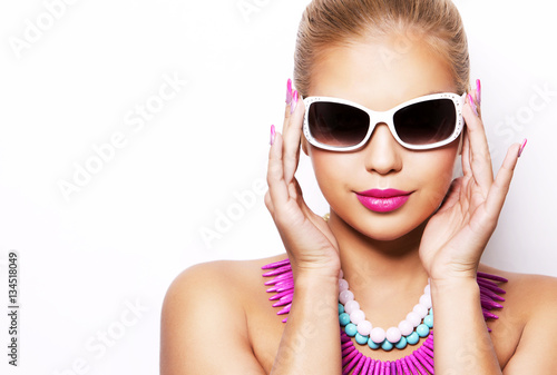 Poster fashion spring summer blond woman with perfect skin