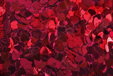 Close up of red Love heart Shaped Table Confetti