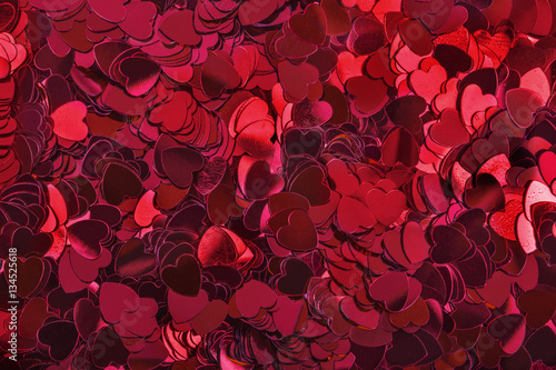 Fotobehang Bordeaux Close up of red Love heart Shaped Table Confetti