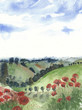 Tuscany landscape Italy watercolor painting handmade