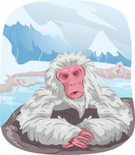 Japanese Macaque Monkey Hot Spring Sticker