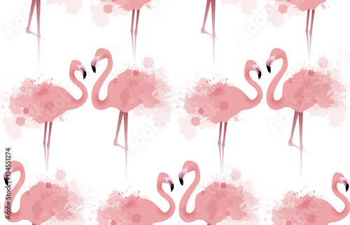 Seamless texture with delicate pink flamingos with watercolor splashes. Vector background fabric, wallpaper, background for your site and your creativity - 134551274