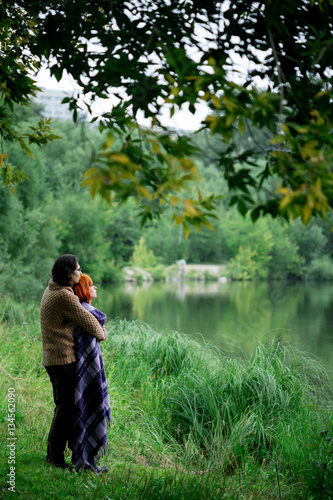 Poster Romantic loving couple resting at the nature