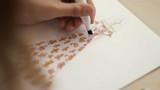 fashion illustration. Fashion designer drawing and paint. Female fashion designer drawing sketches for clothes. Close-up