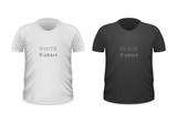 Front View White and Black T-Shirts Isolated