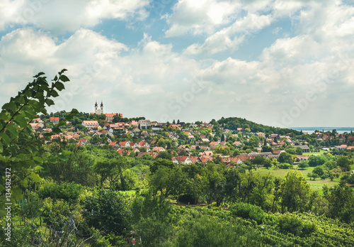 View over Tihany abbey and town on lake Balaton in Hungary on summer day Poster