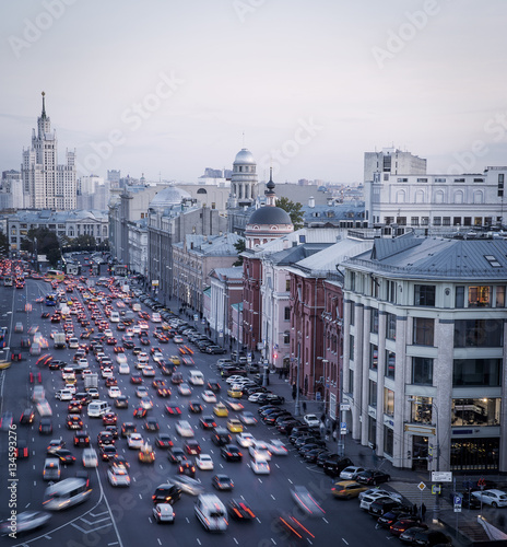 Poster Traffic jam in Moscow, Russia