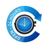 open 24 hours watch sign illustration isolated