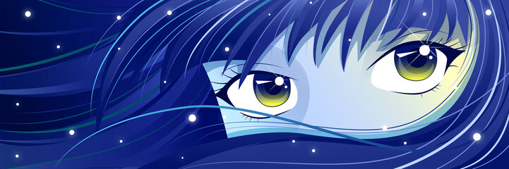 Moonie - blue-haired Manga Girl