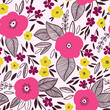 Vector floral pattern in doodle style with flowers and leaves. - 134616644