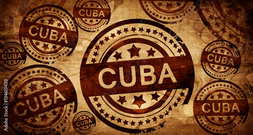 Cuba, vintage stamp on paper background