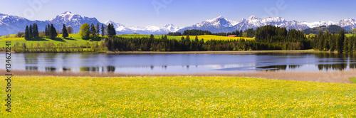 Foto op Aluminium Panoramafoto s Panorama Landschaft im Allgäu bei Füssen