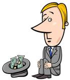 businessman beggar cartoon
