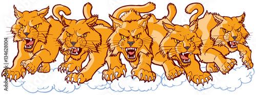 Group of Mean Wildcat Cartoon Mascots Charging Forward