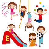 cute kids playing over white background. colorful design. vector illustration
