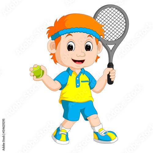 Fototapeta Illustration of a Boy Playing Lawn Tennis