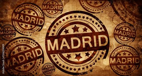 Madrid, vintage stamp on paper background