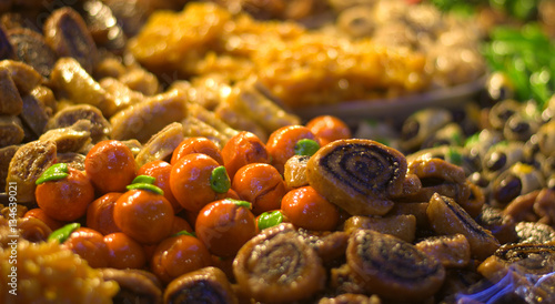 Poster Zanzibar Honey cakes, colorful in the Eastern markets