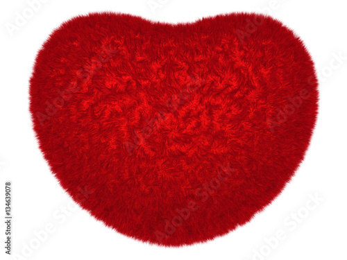 Glowing red furry symbolic love heart