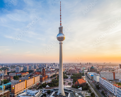 Berlin city view with TV tower in the centre, Germany