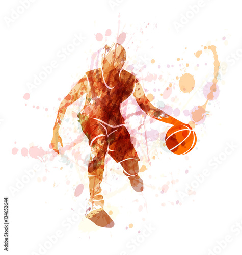 Colored silhouette of basketball player with ball