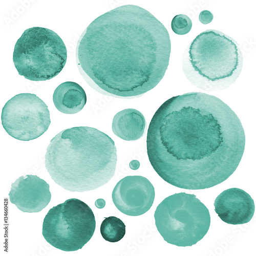 Set of watercolor mint green, sea blue, aquamarine circles. Watercolour round elements for logo design, banners, posters. © chumakova