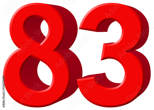 Poster Numeral 83, eighty three, isolated on white background, 3d rende