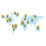 world map with bitcoins icon over white background. colorful design. vector illustration