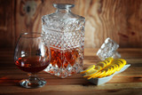 alcohol brandy set glass and carafe