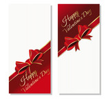 Set flyers Valentine's Day. Holiday background with greeting inscription - Happy Valentine's Day. Vector illustration