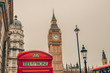 Big Ben in London, England and famous red telephone cabin