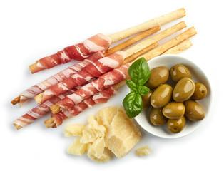 Bread sticks grissini with prosciutto
