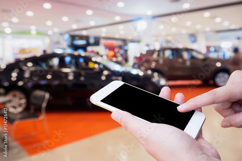 Foto op Canvas Snelle auto s car showroom blur for background