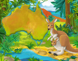 Cartoon kangaroo with continent map - illustration for children