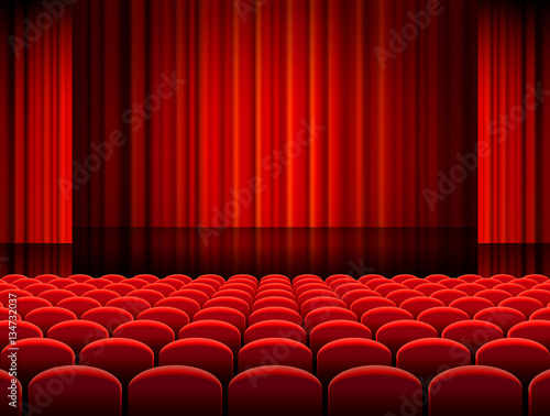 Vector Theather Hall with red Curtains