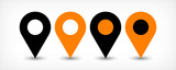 Fototapety Orange flat map pin sign location icon with shadow