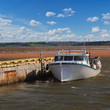 Lobster Boat tied up to a wharf in rural Prince Edward Island, Canada.