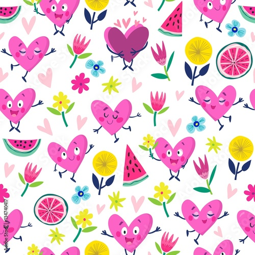 Cotton fabric Vector seamless pattern of funny hearts