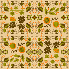 Floral seamless pattern with ladybird and vine. Geometrical background with flowers