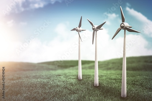 Poster Composite image of wind turbines against white screen 3d