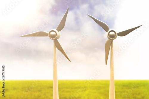 Poster Composite image of illustration of wind mills 3d