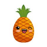 sweet fruit character kawaii style vector illustration design