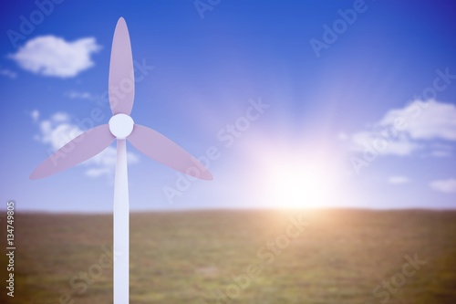 Poster Composite image of wind mill in blue color 3d