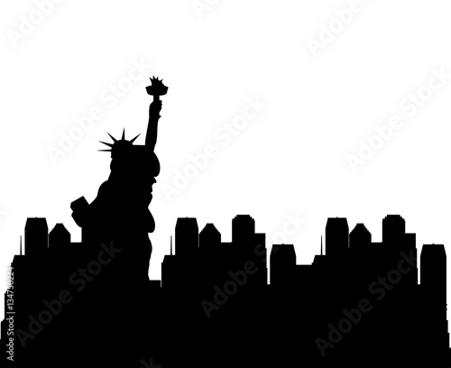 silhouette of new york city with liberty statue. travle and tourism design. vector illustration